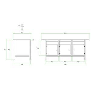 Brakel BW170.06 werkbank BW170 3-vaks 3 deuren 450 mm en 3 laden 150 mm 2000x750x860 mm RAL - Y40630023 - afbeelding 2