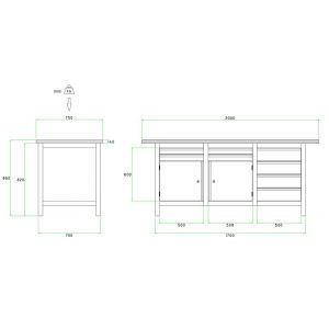 Brakel BW170.07 werkbank BW170 3-vaks 2 deuren 450 mm en 8 laden 4x 75 mm en 4x 150 mm 2000x750x860 mm RAL - Y40630024 - afbeelding 2
