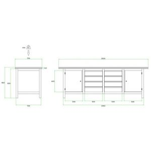 Brakel BW225.01 werkbank BW225 4-vaks 2 deuren 600 mm en 8 laden 150 mm 2500x750x860 mm RAL - Y40630029 - afbeelding 2