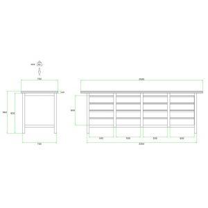 Brakel BW225.02 werkbank BW225 4-vaks 16 laden 150 mm 2500x750x860 mm RAL - Y40630030 - afbeelding 2