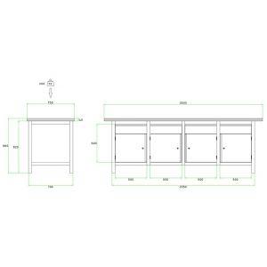 Brakel BW225.04 werkbank BW225 4-vaks 4 deuren 450 mm en 4 laden 150 mm 2500x750x860 mm RAL - Y40630032 - afbeelding 2