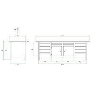 Brakel BW225.05 werkbank BW225 4-vaks 2 deuren 450 mm en 12 laden 4x 75 mm en 8x 150 mm 2500x750x860 mm RAL - Y40630033 - afbeelding 2