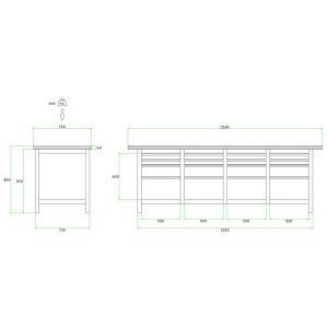 Brakel BW225.06 werkbank BW225 4 vaks 16 laden 8x 75 mm, 4x 150 mm en 4x 300 mm 2500x750x860 mm RAL - Y40630034 - afbeelding 2