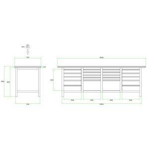 Brakel BW225.07 werkbank BW225 4 vaks 20 laden 8x 75 mm, 6x 100 mm, 4x 150 mm en 2x 300 mm . 2500x750x860 mm RAL - Y40630035 - afbeelding 2