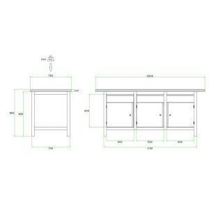 Brakel BW170.06 werkbank BW170 3-vaks 3 deuren 450 mm en 3 laden 150 mm 2000x750x860 mm RAL - A11500023 - afbeelding 2