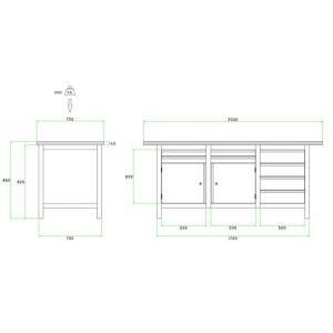 Brakel BW170.07 werkbank BW170 3-vaks 2 deuren 450 mm en 8 laden 4x 75 mm en 4x 150 mm 2000x750x860 mm RAL - A11500024 - afbeelding 2