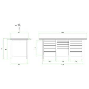 Brakel BW170.10 werkbank BW170 3-vaks 15 laden 4x 75 mm, 6x 100 mm, 4x 150 mm en 1x 300 mm 2000x750x860 mm RAL - A11500027 - afbeelding 2