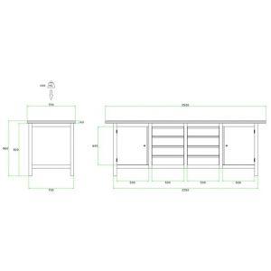 Brakel BW225.01 werkbank BW225 4-vaks 2 deuren 600 mm en 8 laden 150 mm 2500x750x860 mm RAL - A11500029 - afbeelding 2