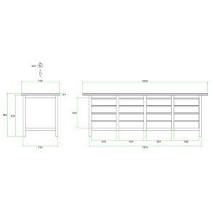 Brakel BW225.02 werkbank BW225 4-vaks 16 laden 150 mm 2500x750x860 mm RAL - A11500030 - afbeelding 2