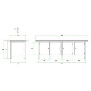 Brakel BW225.03 werkbank BW225 4-vaks 4 deuren 600 mm 2500x750x860 mm RAL - A11500031 - afbeelding 2