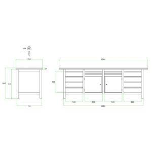 Brakel BW225.05 werkbank BW225 4-vaks 2 deuren 450 mm en 12 laden 4x 75 mm en 8x 150 mm 2500x750x860 mm RAL - A11500033 - afbeelding 2
