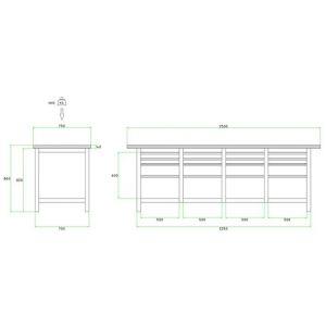 Brakel BW225.06 werkbank BW225 4 vaks 16 laden 8x 75 mm, 4x 150 mm en 4x 300 mm 2500x750x860 mm RAL - A11500034 - afbeelding 2