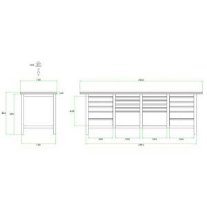 Brakel BW225.07 werkbank BW225 4 vaks 20 laden 8x 75 mm, 6x 100 mm, 4x 150 mm en 2x 300 mm . 2500x750x860 mm RAL - A11500035 - afbeelding 2