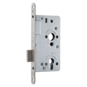 GPF bouwbeslag 0131.09 PC72 kastslot zonder krukgat PC72 U voorplaat 235x20 mm doornmaat 60 mm RVS geborsteld - A16000135 - afbeelding 1