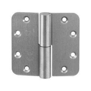 GPF bouwbeslag 00351.09 GPF paumelle 89x96 mm DIN rechts ronde hoek draagvermogen 2 stuks 80 kg hardstalen kogel RVS geborsteld - A16000112 - afbeelding 1