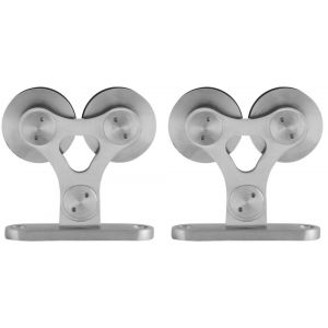 GPF bouwbeslag 0516.09 schuifdeurhanger set Twin voor extra deur RVS geborsteld - A16006652 - afbeelding 1