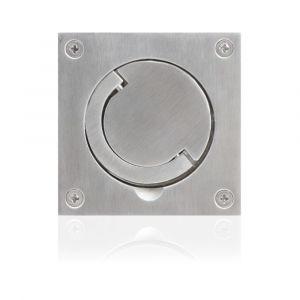 GPF bouwbeslag 0703.09 ringgreep komdeurkruk 89x89 mm vlak RVS geborsteld - A16003777 - afbeelding 1
