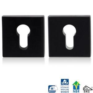 GPF bouwbeslag 6815.60 vierkant veiligheids rozet 55x55x10 mm SKG*** smeedijzer zwart - A16005980 - afbeelding 1