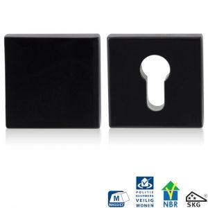 GPF bouwbeslag 6816.60 vierkant veiligheids rozet 55x55x10 mm SKG*** buiten blind smeedijzer zwart - A16005981 - afbeelding 1