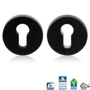 GPF bouwbeslag 6820.60 rond veiligheids rozet 55x10 mm SKG*** smeedijzer zwart - A16005985 - afbeelding 1