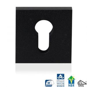 GPF bouwbeslag 8813.61 vierkant veiligheids buitenrozet SKG*** zwart - A16005989 - afbeelding 1