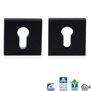 GPF bouwbeslag 8815.61 vierkant veiligheids rozet 55x55x10 mm SKG*** zwart - A16005993 - afbeelding 1