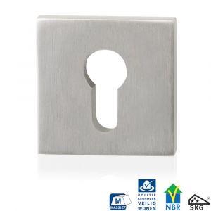 GPF bouwbeslag 9284.09 vierkant veiligheids buitenrozet SKG*** RVS geborsteld - A16006013 - afbeelding 1