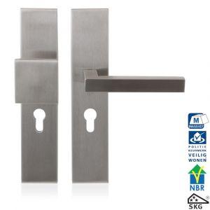 GPF bouwbeslag 9311.72 veiligheids garnituur SKG*** 248x52 mm rechthoekig PC72 met vaste knop GPF9858.09 en deurkruk GPF1300 RVS geborsteld - A16005674 - afbeelding 1