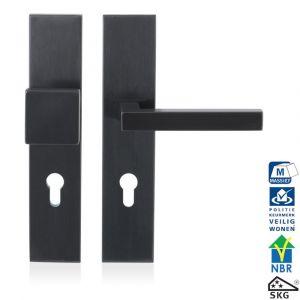 GPF bouwbeslag 9311.55P1 veiligheids garnituur SKG*** 248x52 mm rechthoekig PC55 met vaste knop GPF9856P1 en deurkruk GPF1300P1 PVD antraciet - A16005677 - afbeelding 1