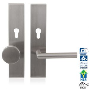 GPF bouwbeslag 9351.72 L veiligheids garnituur SKG*** 248x52 mm Comfort rechthoekig PC72 met vaste knop GPF9860.09 links en deurkruk GPF1015 RVS geborsteld - A16005680 - afbeelding 1