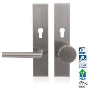 GPF bouwbeslag 9351.72 R veiligheids garnituur SKG*** 248x52 mm Comfort rechthoekig PC72 met vaste knop GPF9860.09 rechts en deurkruk GPF1015 RVS geborsteld - A16005681 - afbeelding 1