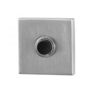 GPF bouwbeslag 9826.02 beldrukker vierkant 50x50x8 mm zwarte button RVS geborsteld - A16000267 - afbeelding 1