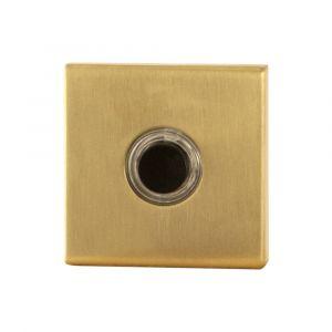 GPF bouwbeslag 9826.02P4 beldrukker vierkant 50x50x8 mm met zwarte button PVD messing satin - A16000269 - afbeelding 1