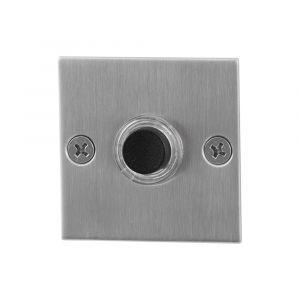 GPF bouwbeslag 9826.08 beldrukker vierkant 50x50x2 mm met zwarte button RVS geborsteld - A16000275 - afbeelding 1