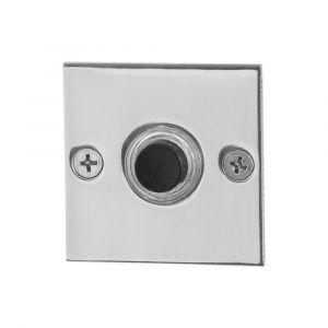 GPF bouwbeslag 9826.48 beldrukker vierkant 50x50x2 mm met zwarte button RVS gepolijst - A16000285 - afbeelding 1