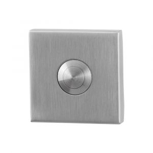 GPF bouwbeslag 9827.02 beldrukker vierkant 50x50x8 mm met RVS button RVS geborsteld - A16000287 - afbeelding 1