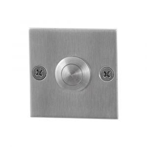 GPF bouwbeslag 9827.08 beldrukker vierkant 50x50x2 mm met RVS button RVS geborsteld - A16000292 - afbeelding 1