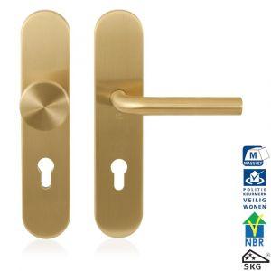 GPF bouwbeslag 9844.55P4 veiligheids garnituur SKG*** 248x52 mm afgerond binnen-buiten PC55 met vaste knop GPF9852P4 en deurkruk GPF1000P4 PVD messing satin - A16005692 - afbeelding 1