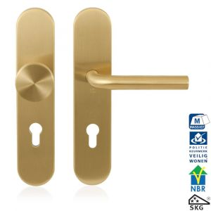 GPF bouwbeslag 9844.72P4 veiligheids garnituur SKG*** 248x52 mm afgerond binnen-buiten PC72 met vaste knop GPF9852P4 en deurkruk GPF1000P4 PVD messing satin - A16005693 - afbeelding 1
