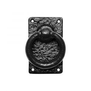 Kirkpatrick KP0717 luikring 89 mm op plaat 127x77 mm met krukstift smeedijzer zwart - A16006121 - afbeelding 1
