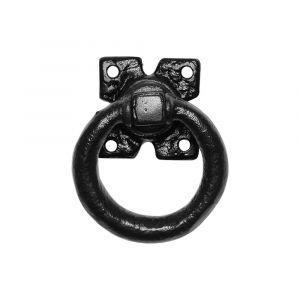 Kirkpatrick KP0911 luikring 76 mm op plaat 63 mm met krukstift smeedijzer zwart - A16006122 - afbeelding 1