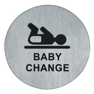 Artitec symboolplaat pictogram baby change diameter 75 mm RVS mat - A23001366 - afbeelding 1