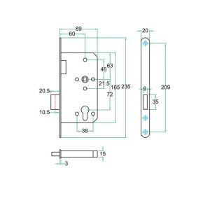 Artitec insteekslot RVS PC project slot klasse 3 PC72 mm - Y32701451 - afbeelding 2