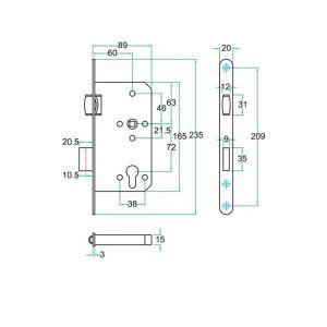 Artitec insteekslot RVS Ton rolslot klasse 3 PC72 mm - Y32701453 - afbeelding 2