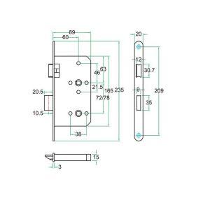 Artitec insteekslot RVS WC vrij-bezet klasse 3 WC vrij-bezet 72 mm - Y32701447 - afbeelding 2