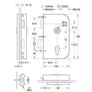 Artitec glasdeur slot Office DIN links RVS mat blind - Y32700008 - afbeelding 1