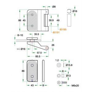 Artitec glasdeurbeslag scharnier paar Frankfurt RVS mat - Y32700823 - afbeelding 2