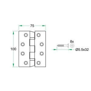 Artitec Zorg en Welzijn S-preventie anti suicidaal kogelscharnier 75x100 mm RVS mat - Y32700002 - afbeelding 2