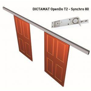 Dictator elektrisch schuifdeursluitsysteem Dictamat OpenDo T2 synchro 80 compleet met muurbevestiging - A14000217 - afbeelding 1