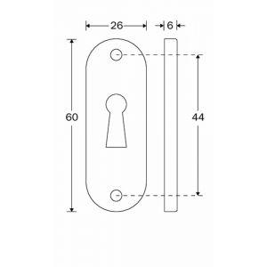 Wallebroek Mi Satori 00.2434.55 sleutelrozet Ovaal 60x26 mm messing mat nikkel ongelakt - A25003656 - afbeelding 1